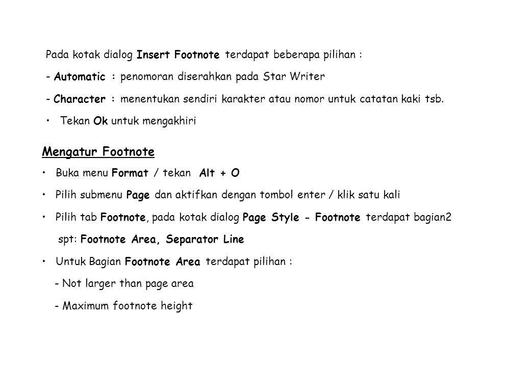 Pada kotak dialog Insert Footnote terdapat beberapa pilihan : - Automatic : penomoran diserahkan pada Star Writer - Character : menentukan sendiri kar