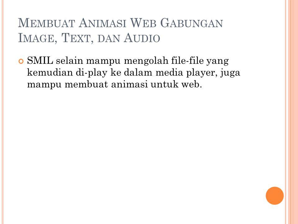 M EMBUAT A NIMASI W EB G ABUNGAN I MAGE, T EXT, DAN A UDIO SMIL selain mampu mengolah file-file yang kemudian di-play ke dalam media player, juga mampu membuat animasi untuk web.