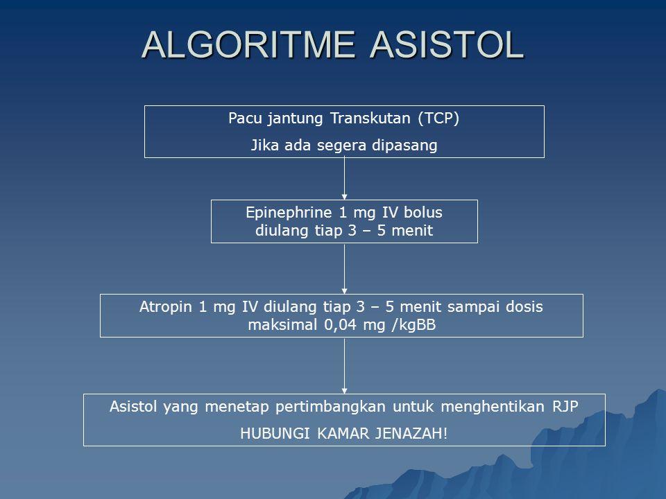 ALGORITME ASISTOL Pacu jantung Transkutan (TCP) Jika ada segera dipasang Asistol yang menetap pertimbangkan untuk menghentikan RJP HUBUNGI KAMAR JENAZ
