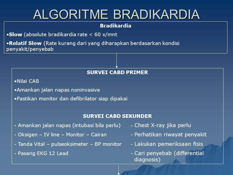 ALGORITME BRADIKARDIA Bradikardia Slow (absolute bradikardia rate < 60 x/mnt Relatif Slow (Rate kurang dari yang diharapkan berdasarkan kondisi penyak