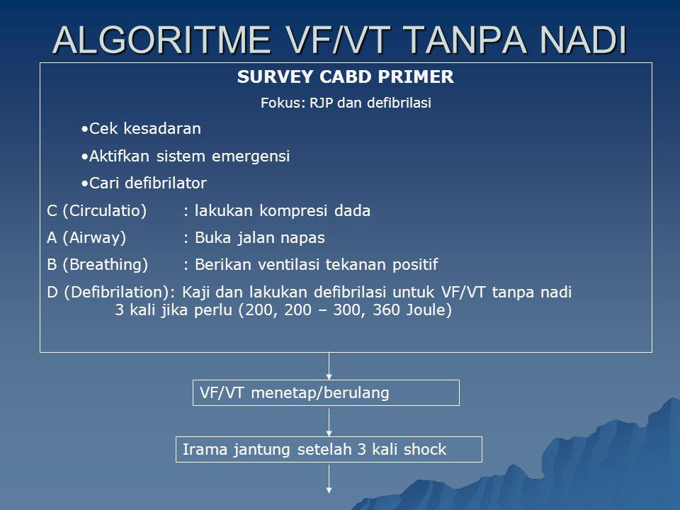 ALGORITME VF/VT TANPA NADI SURVEY CABD PRIMER Fokus: RJP dan defibrilasi Cek kesadaran Aktifkan sistem emergensi Cari defibrilator C (Circulatio): lak