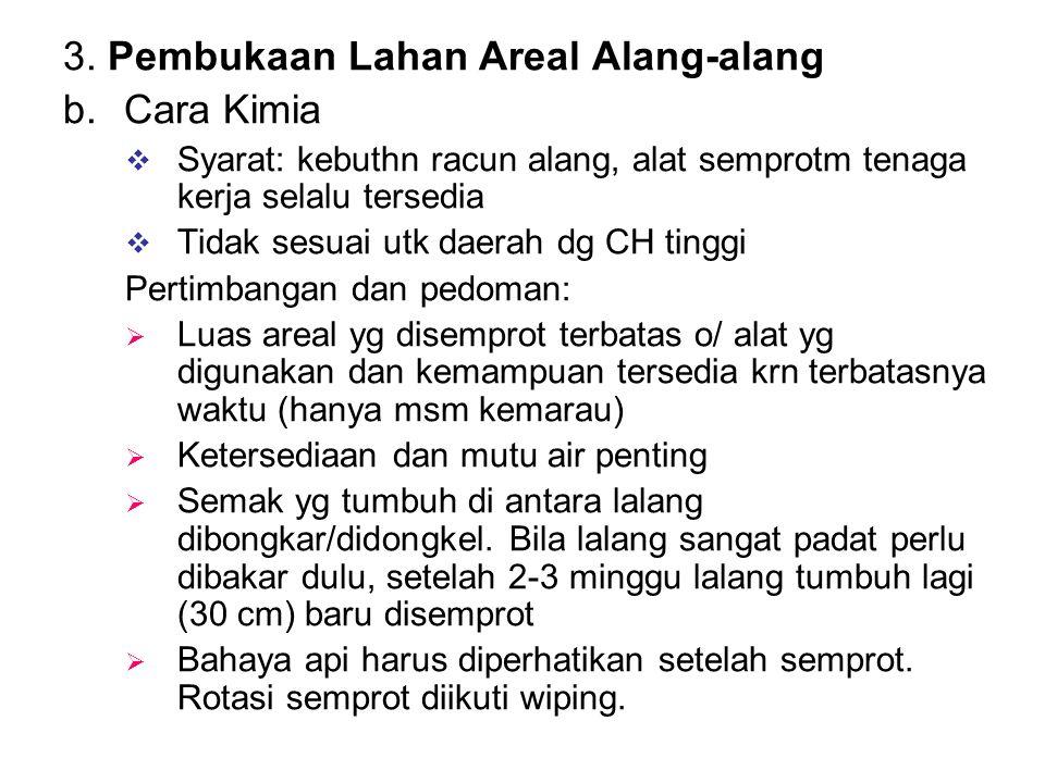 3. Pembukaan Lahan Areal Alang-alang b.Cara Kimia  Syarat: kebuthn racun alang, alat semprotm tenaga kerja selalu tersedia  Tidak sesuai utk daerah