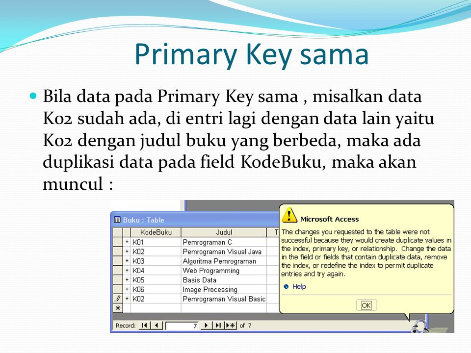 Primary Key sama Bila data pada Primary Key sama, misalkan data K02 sudah ada, di entri lagi dengan data lain yaitu K02 dengan judul buku yang berbeda, maka ada duplikasi data pada field KodeBuku, maka akan muncul :