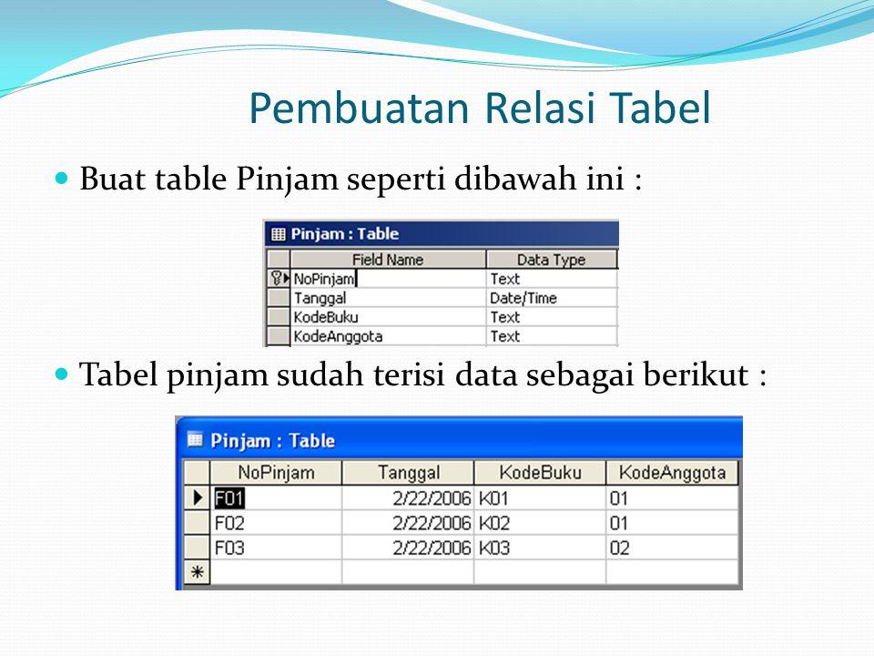 Pembuatan Relasi Tabel Buat table Pinjam seperti dibawah ini : Tabel pinjam sudah terisi data sebagai berikut :
