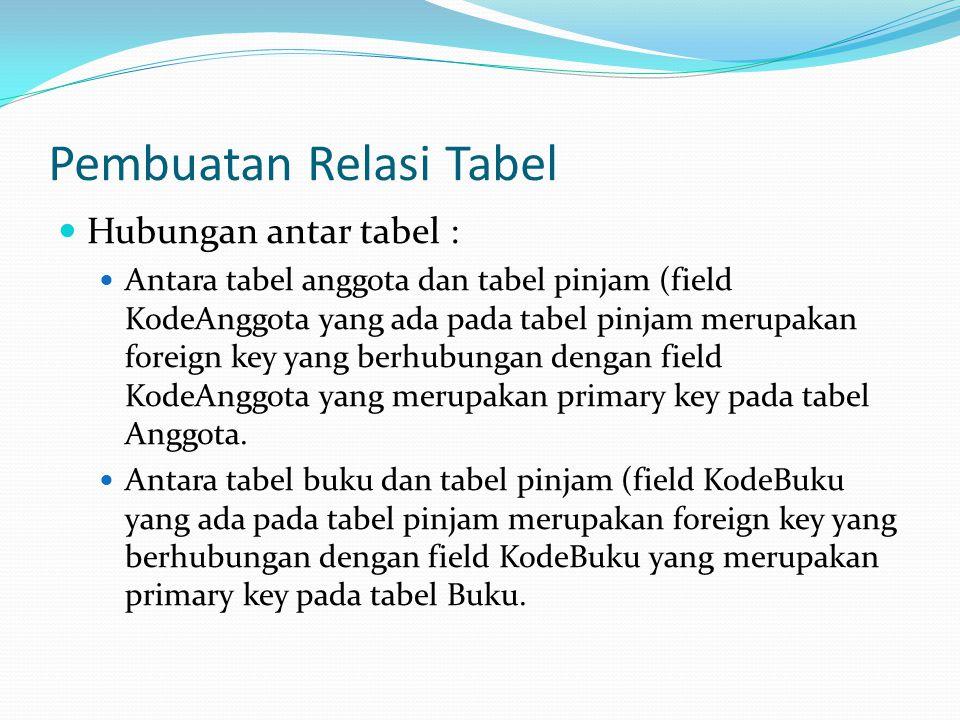Pembuatan Relasi Tabel Hubungan antar tabel : Antara tabel anggota dan tabel pinjam (field KodeAnggota yang ada pada tabel pinjam merupakan foreign key yang berhubungan dengan field KodeAnggota yang merupakan primary key pada tabel Anggota.