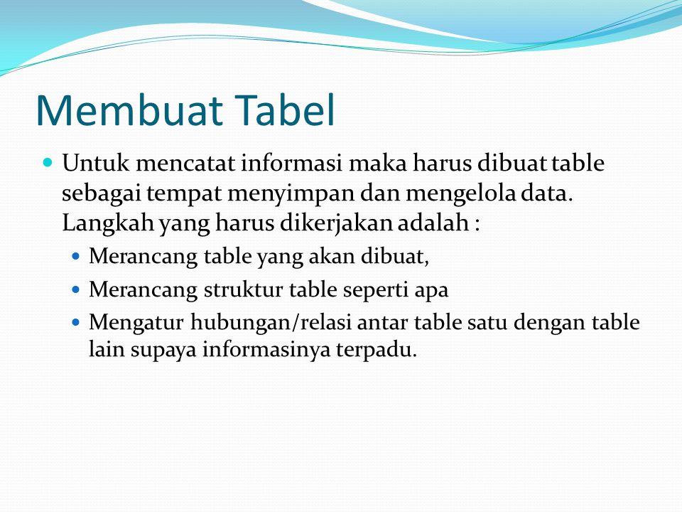 Membuat Tabel Untuk mencatat informasi maka harus dibuat table sebagai tempat menyimpan dan mengelola data.