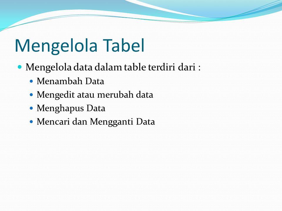 Mengelola Tabel Mengelola data dalam table terdiri dari : Menambah Data Mengedit atau merubah data Menghapus Data Mencari dan Mengganti Data