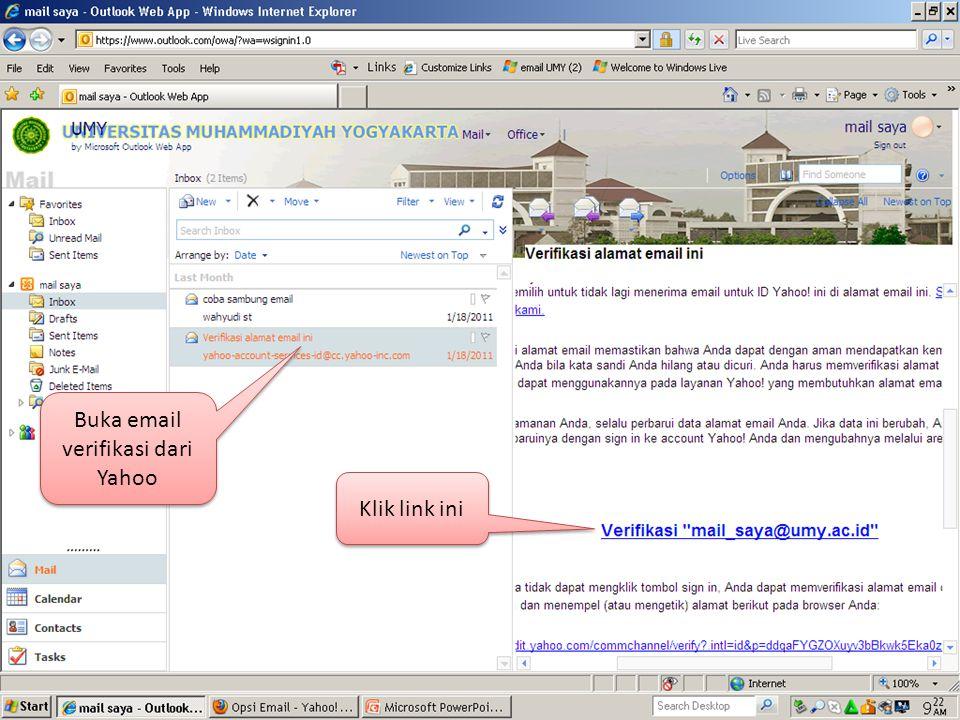 Buka email verifikasi dari Yahoo Klik link ini