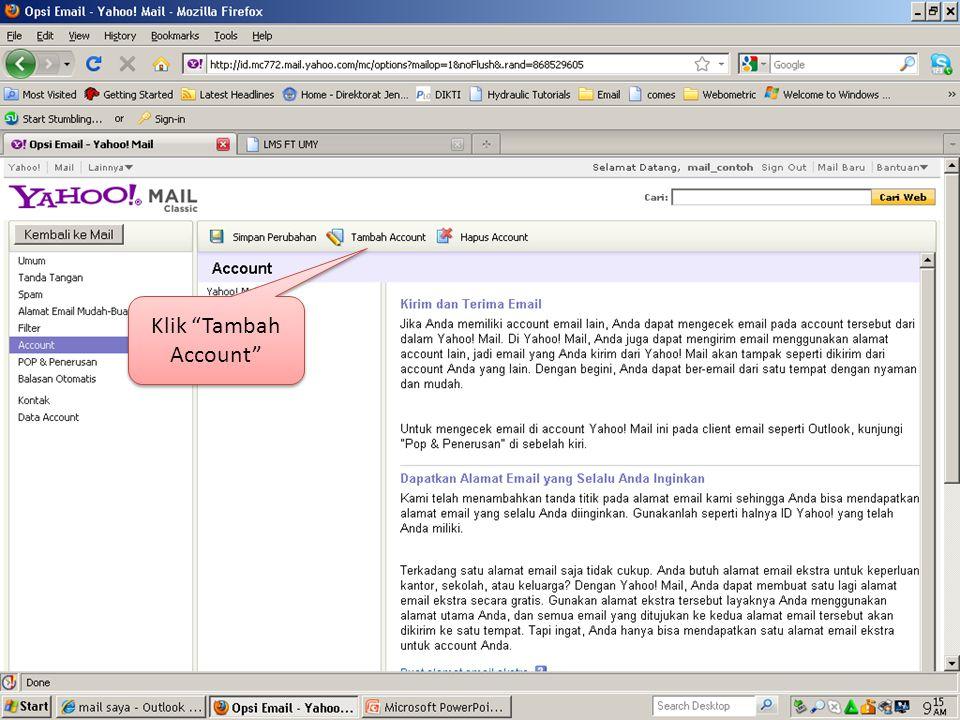 Email UMY telah disambungkan ke account Yahoo.
