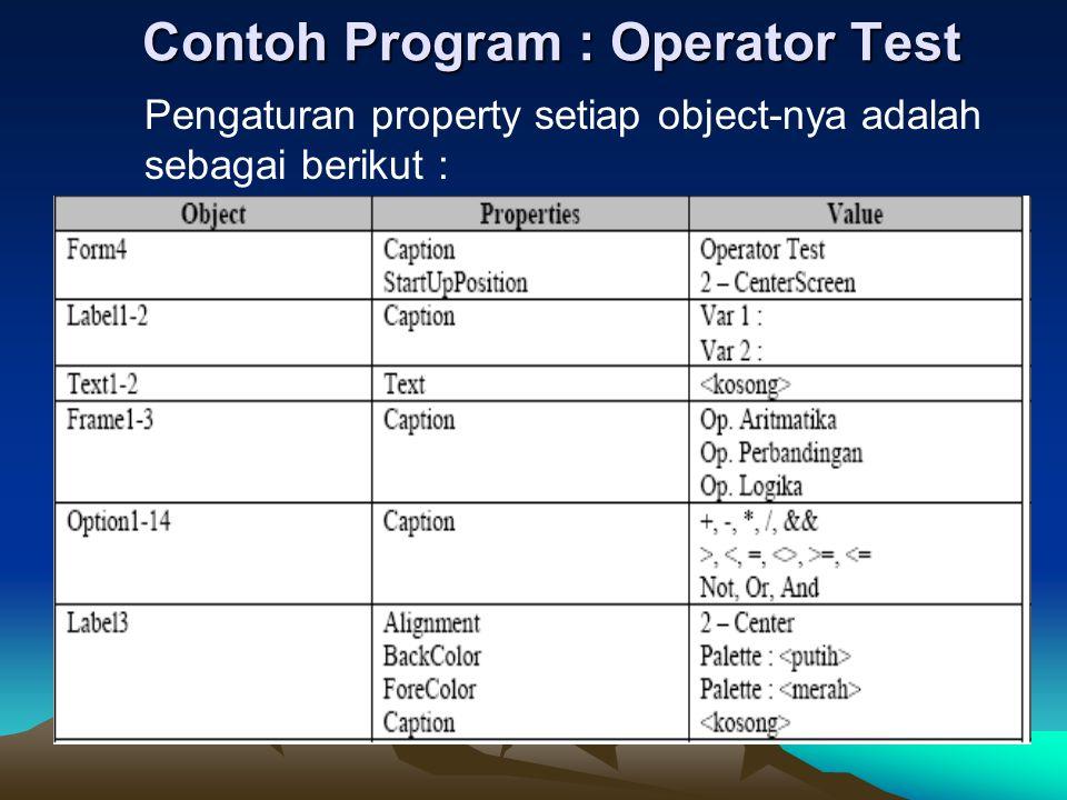 Contoh Program : Operator Test Pengaturan property setiap object-nya adalah sebagai berikut :