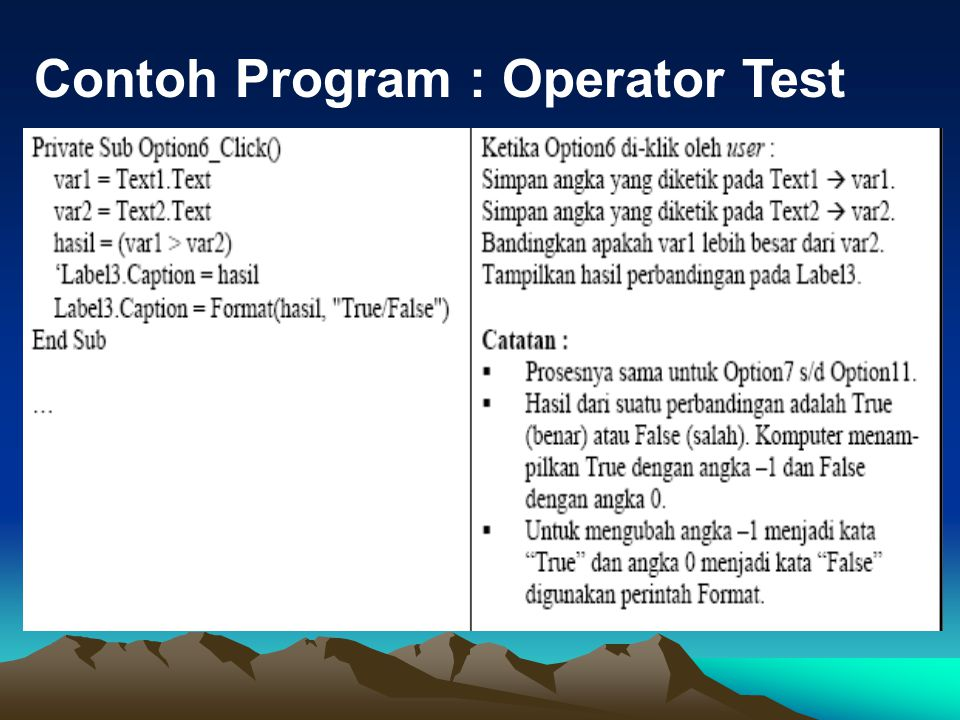 Contoh Program : Operator Test