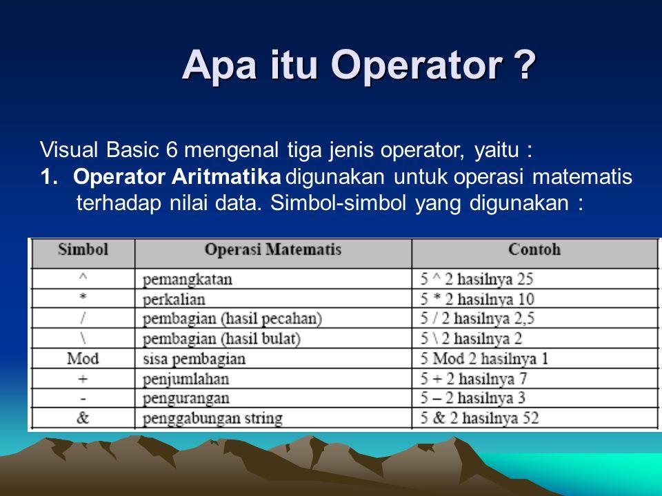 Apa itu Operator ? Visual Basic 6 mengenal tiga jenis operator, yaitu : 1.Operator Aritmatika digunakan untuk operasi matematis terhadap nilai data. S