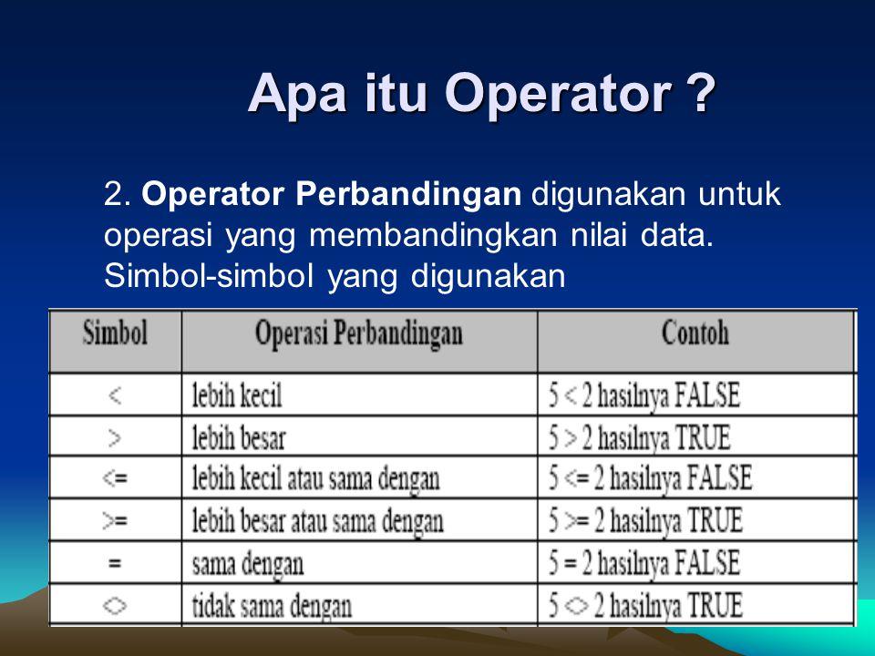 Apa itu Operator ? 2. Operator Perbandingan digunakan untuk operasi yang membandingkan nilai data. Simbol-simbol yang digunakan
