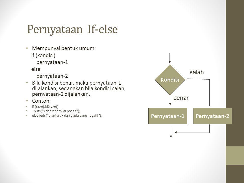 Pernyataan If-else Mempunyai bentuk umum: if (kondisi) pernyataan-1 else pernyataan-2 Bila kondisi benar, maka pernyataan-1 dijalankan, sedangkan bila