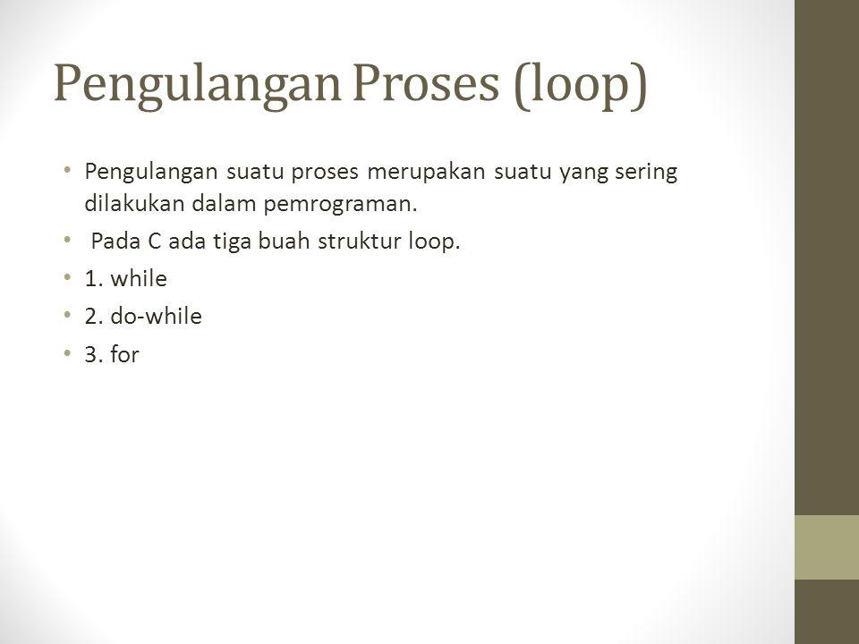 Pengulangan Proses (loop) Pengulangan suatu proses merupakan suatu yang sering dilakukan dalam pemrograman. Pada C ada tiga buah struktur loop. 1. whi
