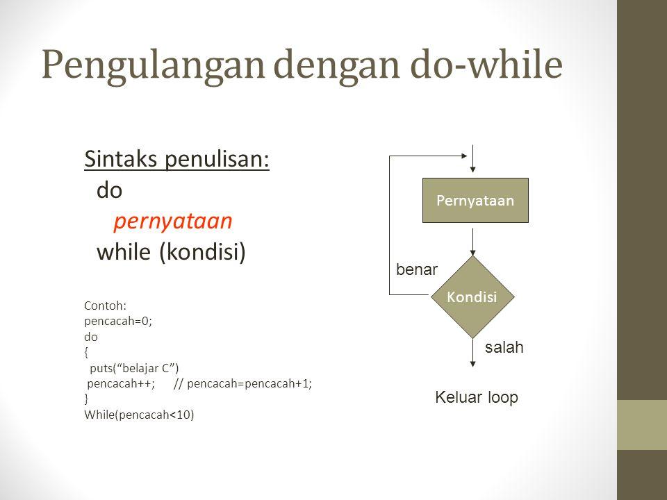 "Pengulangan dengan do-while Sintaks penulisan: do pernyataan while (kondisi) Contoh: pencacah=0; do { puts(""belajar C"") pencacah++; // pencacah=pencac"
