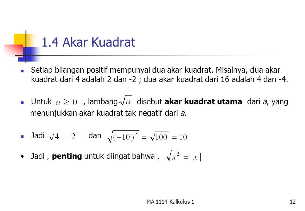 12 1.4 Akar Kuadrat Setiap bilangan positif mempunyai dua akar kuadrat. Misalnya, dua akar kuadrat dari 4 adalah 2 dan -2 ; dua akar kuadrat dari 16 a