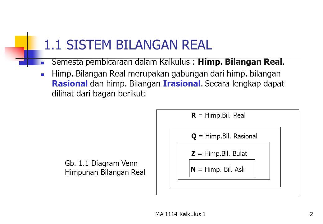 2 1.1 SISTEM BILANGAN REAL Semesta pembicaraan dalam Kalkulus : Himp. Bilangan Real. Himp. Bilangan Real merupakan gabungan dari himp. bilangan Rasion
