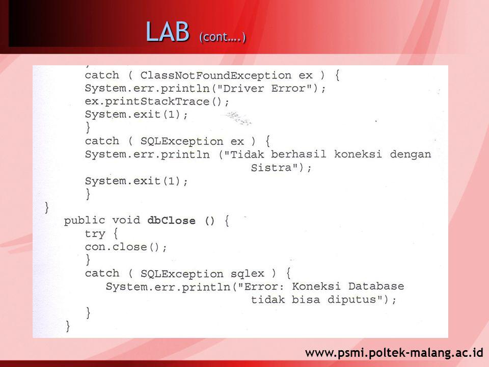 www.psmi.poltek-malang.ac.id LAB (cont….)