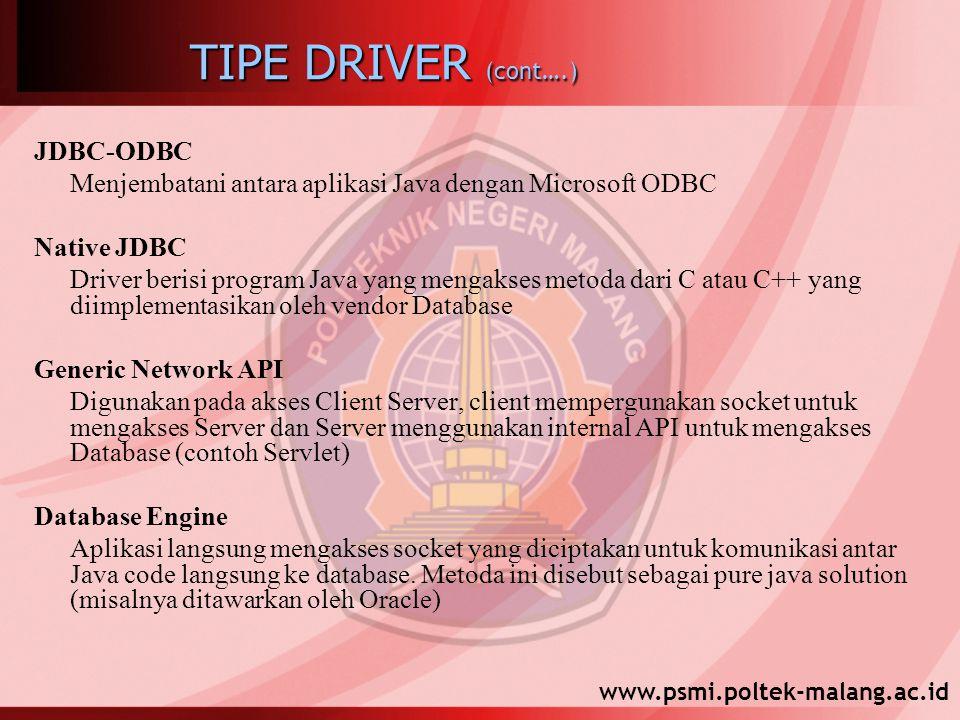 www.psmi.poltek-malang.ac.id TIPE DRIVER (cont….) JDBC-ODBC Menjembatani antara aplikasi Java dengan Microsoft ODBC Native JDBC Driver berisi program