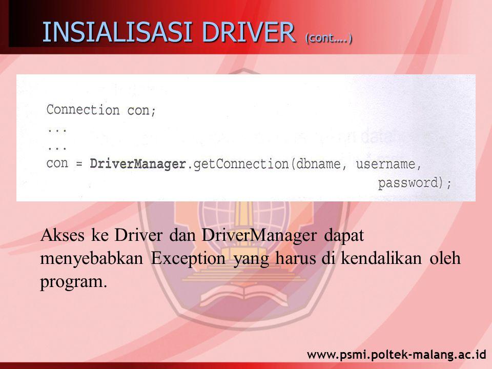www.psmi.poltek-malang.ac.id INSIALISASI DRIVER (cont….) Akses ke Driver dan DriverManager dapat menyebabkan Exception yang harus di kendalikan oleh program.