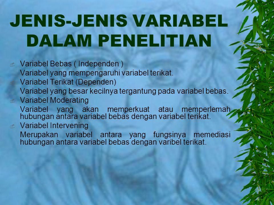 JENIS-JENIS VARIABEL DALAM PENELITIAN  Variabel Bebas ( Independen ) Variabel yang mempengaruhi variabel terikat.  Variabel Terikat (Dependen) Varia