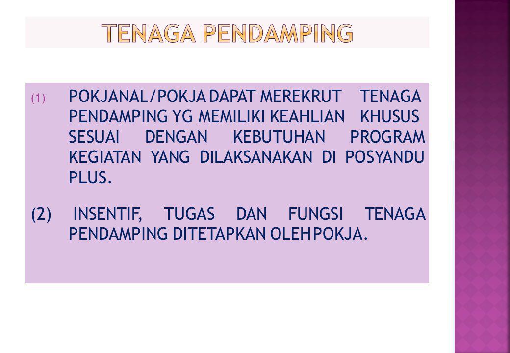 (1) POKJANAL/POKJA DAPAT MEREKRUT TENAGA PENDAMPING YG MEMILIKI KEAHLIAN KHUSUS SESUAI DENGAN KEBUTUHAN PROGRAM KEGIATAN YANG DILAKSANAKAN DI POSYANDU PLUS.