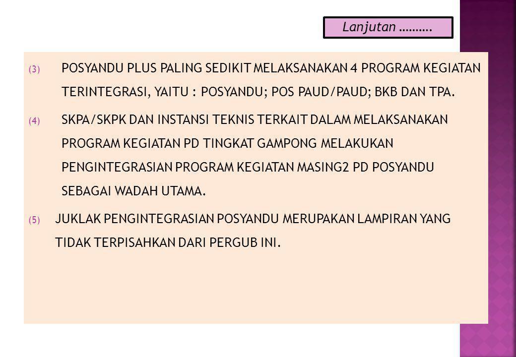 (3) POSYANDU PLUS PALING SEDIKIT MELAKSANAKAN 4 PROGRAM KEGIATAN TERINTEGRASI, YAITU : POSYANDU; POS PAUD/PAUD; BKB DAN TPA.