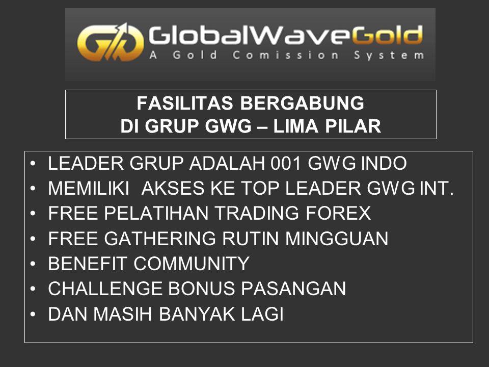 LEADER GRUP ADALAH 001 GWG INDO MEMILIKI AKSES KE TOP LEADER GWG INT. FREE PELATIHAN TRADING FOREX FREE GATHERING RUTIN MINGGUAN BENEFIT COMMUNITY CHA