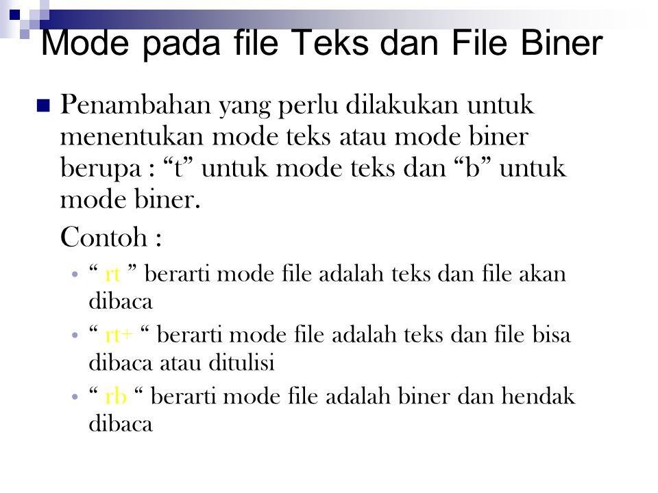 Mode pada file Teks dan File Biner Penambahan yang perlu dilakukan untuk menentukan mode teks atau mode biner berupa : t untuk mode teks dan b untuk mode biner.
