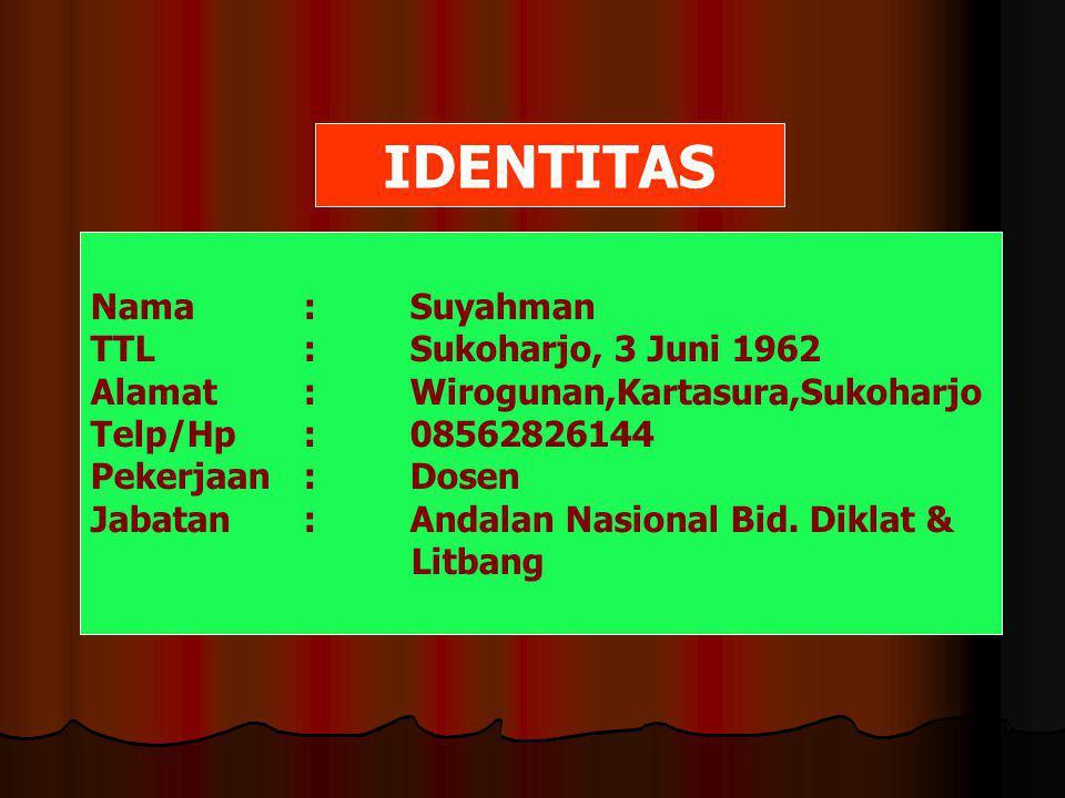 IDENTITAS Nama:Suyahman TTL:Sukoharjo, 3 Juni 1962 Alamat:Wirogunan,Kartasura,Sukoharjo Telp/Hp:08562826144 Pekerjaan:Dosen Jabatan:Andalan Nasional Bid.