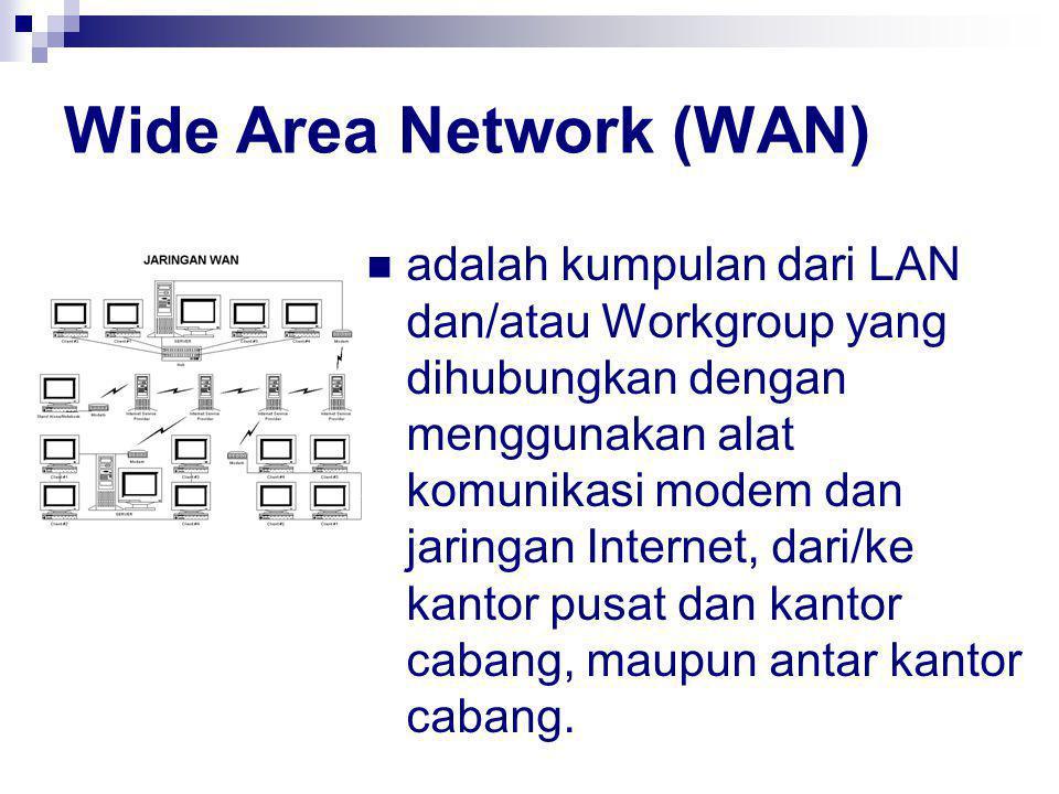 Wide Area Network (WAN) adalah kumpulan dari LAN dan/atau Workgroup yang dihubungkan dengan menggunakan alat komunikasi modem dan jaringan Internet, dari/ke kantor pusat dan kantor cabang, maupun antar kantor cabang.