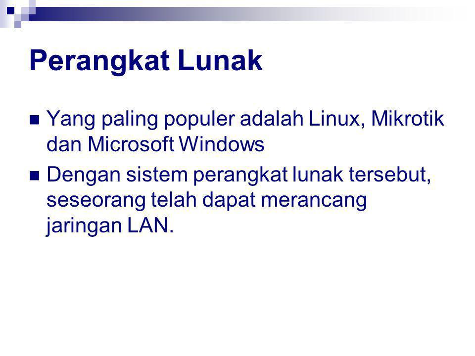 Perangkat Lunak Yang paling populer adalah Linux, Mikrotik dan Microsoft Windows Dengan sistem perangkat lunak tersebut, seseorang telah dapat merancang jaringan LAN.