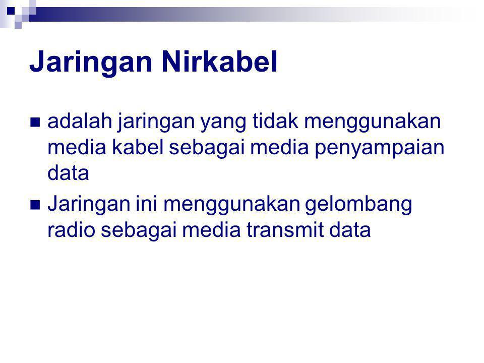 Jaringan Nirkabel adalah jaringan yang tidak menggunakan media kabel sebagai media penyampaian data Jaringan ini menggunakan gelombang radio sebagai media transmit data