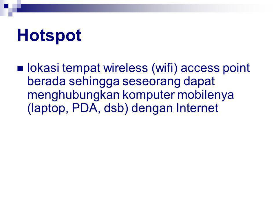 Hotspot lokasi tempat wireless (wifi) access point berada sehingga seseorang dapat menghubungkan komputer mobilenya (laptop, PDA, dsb) dengan Internet