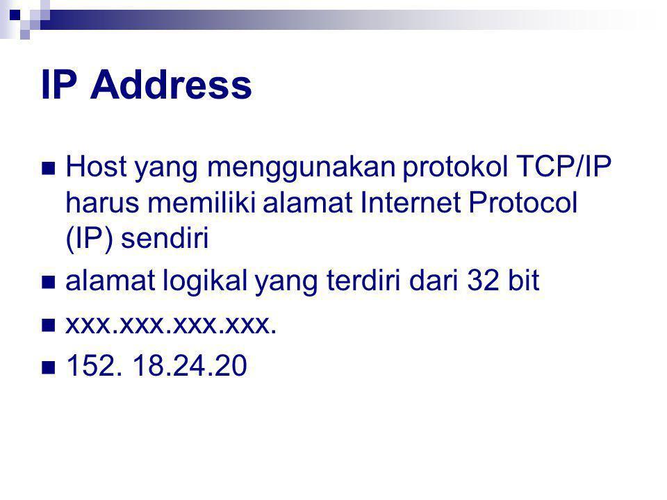 IP Address Host yang menggunakan protokol TCP/IP harus memiliki alamat Internet Protocol (IP) sendiri alamat logikal yang terdiri dari 32 bit xxx.xxx.xxx.xxx.