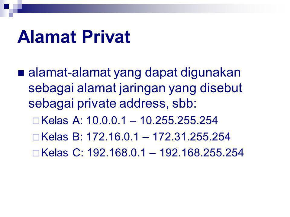 Alamat Privat alamat-alamat yang dapat digunakan sebagai alamat jaringan yang disebut sebagai private address, sbb:  Kelas A: 10.0.0.1 – 10.255.255.254  Kelas B: 172.16.0.1 – 172.31.255.254  Kelas C: 192.168.0.1 – 192.168.255.254
