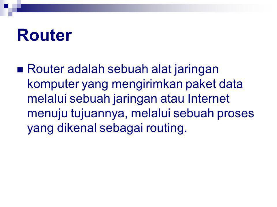 Router Router adalah sebuah alat jaringan komputer yang mengirimkan paket data melalui sebuah jaringan atau Internet menuju tujuannya, melalui sebuah proses yang dikenal sebagai routing.