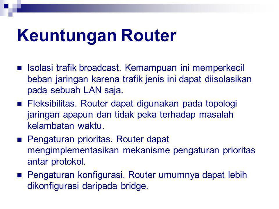 Keuntungan Router Isolasi trafik broadcast.