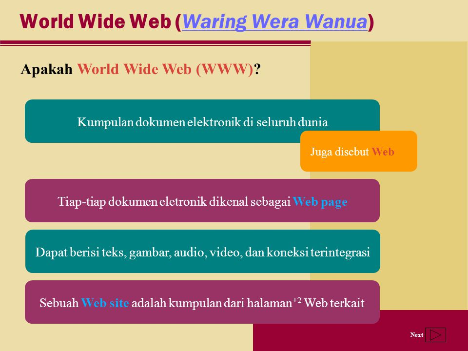 Next World Wide Web (Waring Wera Wanua)Waring Wera Wanua Apakah World Wide Web (WWW).
