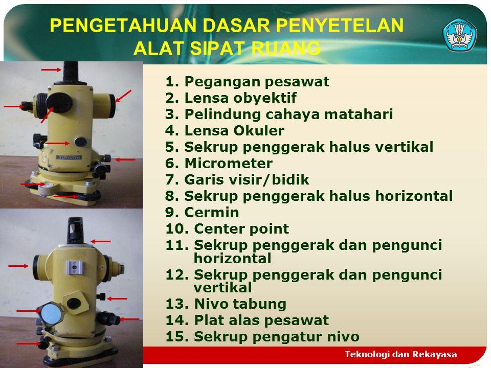Teknologi dan Rekayasa PENGETAHUAN DASAR PENYETELAN ALAT SIPAT RUANG 1.