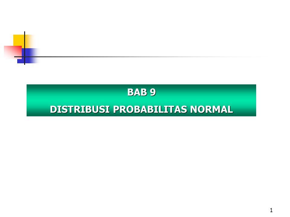 2 OUTLINE BAGIAN II Probabilitas dan Teori Keputusan Konsep-konsep Dasar Probabilitas Distribusi Probabilitas Diskret Distribusi Normal Teori Keputusan Pengertian dan Karakteristik Distribusi Probabilitas Normal Distribusi Probabilitas Normal Standar Penerapan Distribusi Probabilitas Normal Standar Pendekatan Normal Terhadap Binomial Menggunakan MS Excel untuk Distribusi Probabilitas Distribusi Probabilitas Normal Bab 9