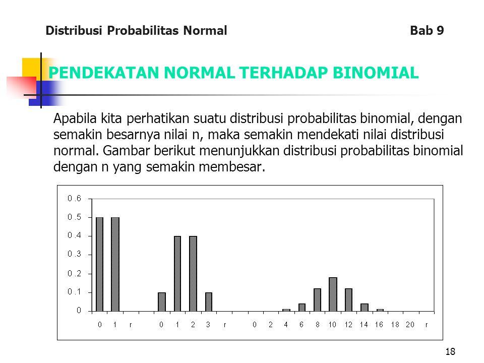 18 PENDEKATAN NORMAL TERHADAP BINOMIAL Apabila kita perhatikan suatu distribusi probabilitas binomial, dengan semakin besarnya nilai n, maka semakin mendekati nilai distribusi normal.