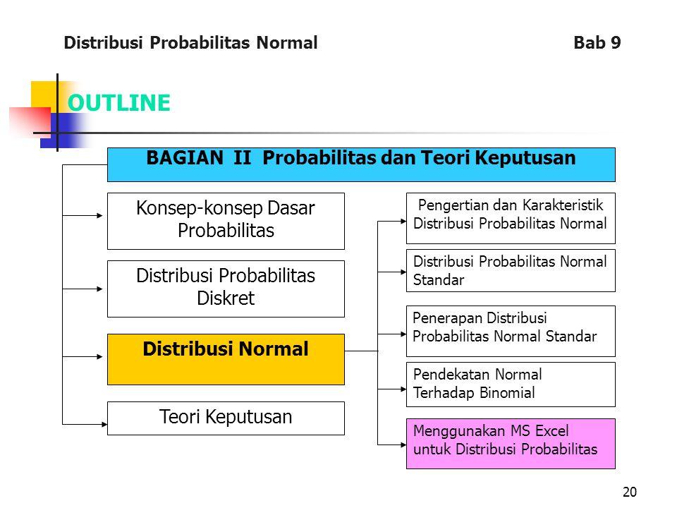 20 OUTLINE BAGIAN II Probabilitas dan Teori Keputusan Konsep-konsep Dasar Probabilitas Distribusi Probabilitas Diskret Distribusi Normal Teori Keputusan Pengertian dan Karakteristik Distribusi Probabilitas Normal Distribusi Probabilitas Normal Standar Penerapan Distribusi Probabilitas Normal Standar Pendekatan Normal Terhadap Binomial Menggunakan MS Excel untuk Distribusi Probabilitas Distribusi Probabilitas Normal Bab 9