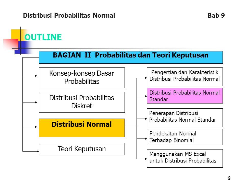 9 OUTLINE BAGIAN II Probabilitas dan Teori Keputusan Konsep-konsep Dasar Probabilitas Distribusi Probabilitas Diskret Distribusi Normal Teori Keputusan Pengertian dan Karakteristik Distribusi Probabilitas Normal Distribusi Probabilitas Normal Standar Penerapan Distribusi Probabilitas Normal Standar Pendekatan Normal Terhadap Binomial Menggunakan MS Excel untuk Distribusi Probabilitas Distribusi Probabilitas Normal Bab 9