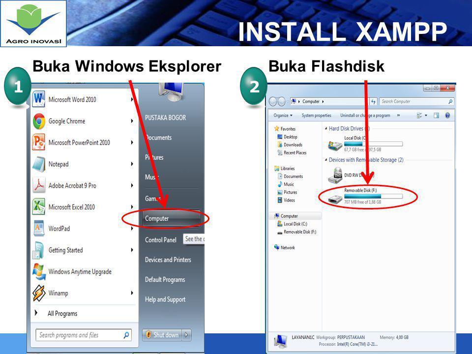 LOGO Install XAMPP 34 Klik 2x pada Xampp-win32-1.7.7- VC9-installer Tentukan Drive (saran D:\) 5 Tunggu sampai process install selesai