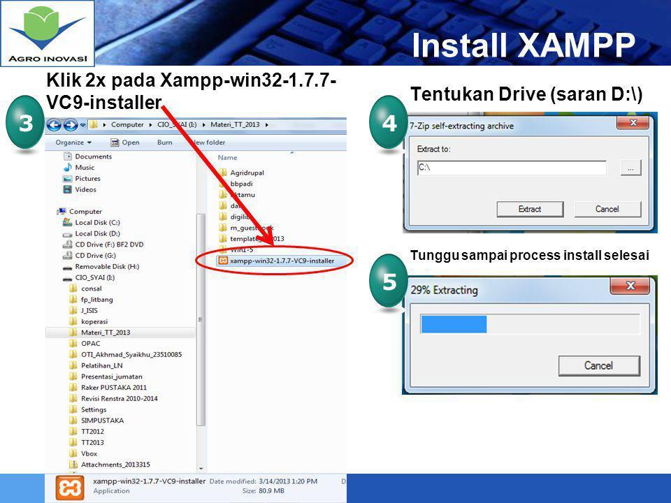 LOGO Mengaktifkan XAMPP 6 Mengaktifkan APACHE dan MYSQL, Klik START APACHE dan MYSQL Running Buka folder XAMPP 6a Klik 2x pada Xampp_start 6b