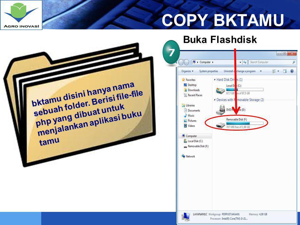 LOGO Mengganti Header Aplikasi Buku Tamu 1 COPY file Banner (header) pada XAMPP\HTDOCS\BKTAMU\IMAGES Misal : pustaka.jpg, balithi.jpb, bptpjambi.jpg