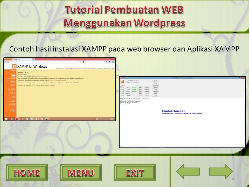 Contoh hasil instalasi XAMPP pada web browser dan Aplikasi XAMPP 6