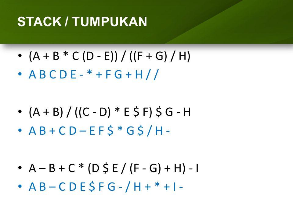 ARRAY (LARIK) STACK / TUMPUKAN (A + B * C (D - E)) / ((F + G) / H) A B C D E - * + F G + H / / (A + B) / ((C - D) * E $ F) $ G - H A B + C D – E F $ *